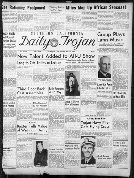 Daily Trojan, Vol. 34, No. 37, November 10, 1942