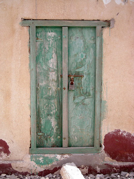 a door in the village of Tiwi, Oman