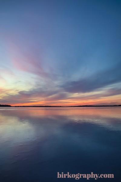 An absolutely gorgeous sunset in January on frozen Lake Minnetonka, MN