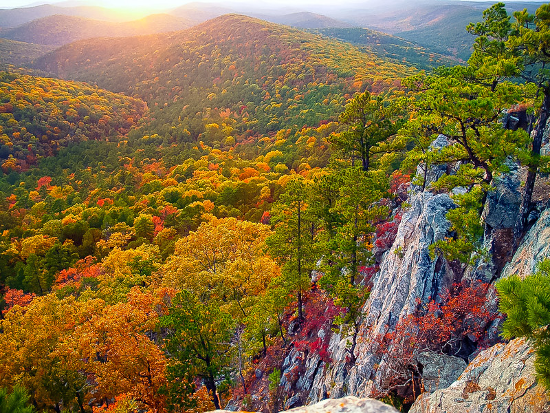 Sunset from Flatside Pinnacle, in the Ouachita National Forest in Arkansas.