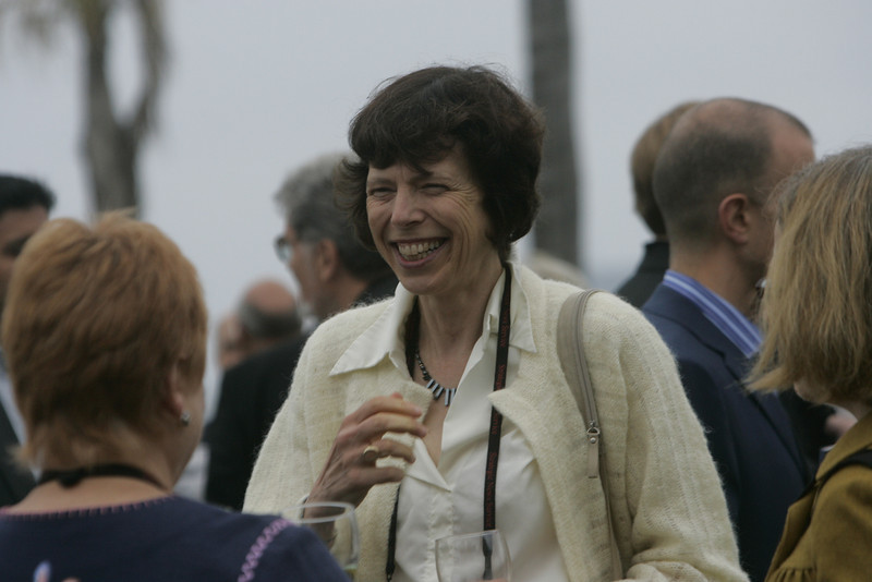 At the Opening Reception, Paula Brock (L) and Janet Smarr share a laugh