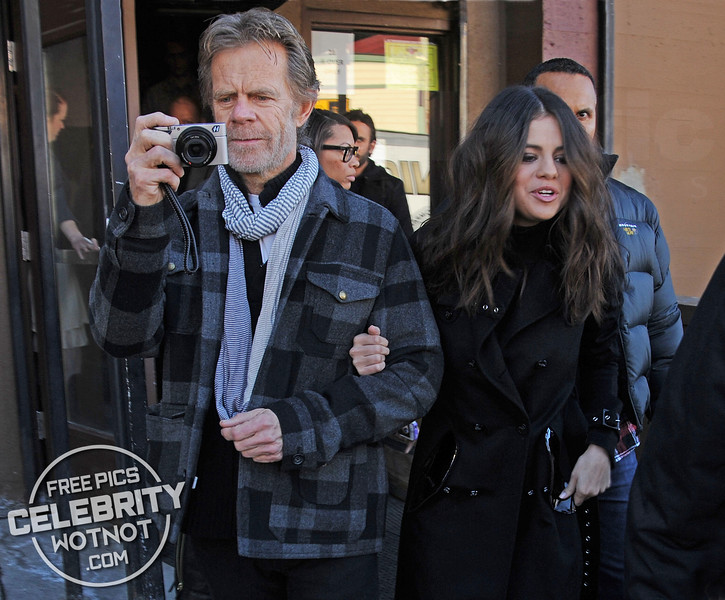 Selena Gomez Escorted by William H. Macy Who Films The Fans With His Camera In Park City, Utah