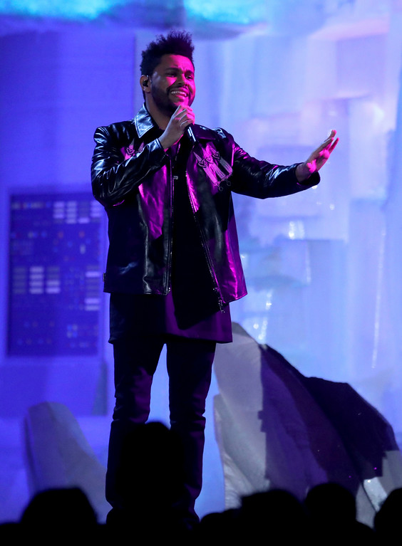 . The Weeknd performs at the 59th annual Grammy Awards on Sunday, Feb. 12, 2017, in Los Angeles. (Photo by Matt Sayles/Invision/AP)