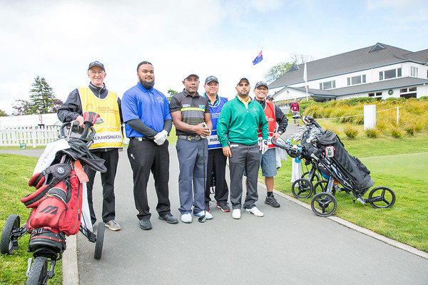 Willie Teleso from American Samoa, George Rukabo from Solomon Islands and Asad Alrawshdeh from Jordan together with their caddies after hitting off the 1st tee on Day 1 of competition in the Asia-Pacific Amateur Championship tournament 2017 held at Royal Wellington Golf Club, in Heretaunga, Upper Hutt, New Zealand from 26 - 29 October 2017. Copyright John Mathews 2017.   www.megasportmedia.co.nz