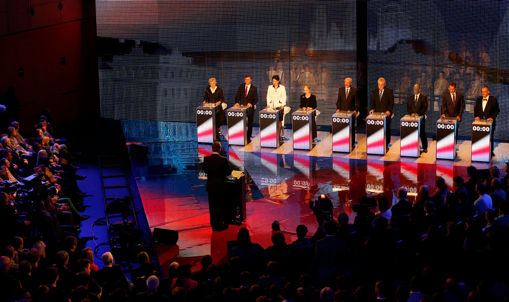 Description of . Presidential candidates, left to right, Zuzana Roithova, Jan Fischer, Jana Bobosikova, Tatana Fischerova, Premysl Sobotka, Milos Zeman, Vladimir Franz, Jiri Dientsbier and Karel Schwarzenberg attend a television debate in Prague, Czech Republic, Thursday, Jan. 10, 2013.   The Czech Republic holds the first round of the Presidential election on Jan. 11-12th, 2013. (AP Photo/Petr David Josek)