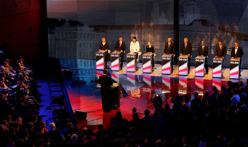 . Presidential candidates, left to right, Zuzana Roithova, Jan Fischer, Jana Bobosikova, Tatana Fischerova, Premysl Sobotka, Milos Zeman, Vladimir Franz, Jiri Dientsbier and Karel Schwarzenberg attend a television debate in Prague, Czech Republic, Thursday, Jan. 10, 2013.   The Czech Republic holds the first round of the Presidential election on Jan. 11-12th, 2013. (AP Photo/Petr David Josek)