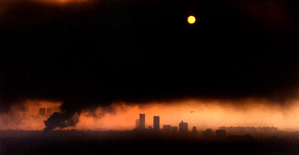 . The sky is filled with the smoke of burning buildings during the 1992 Los Angeles riots.  (Los Angeles Daily News file photo)
