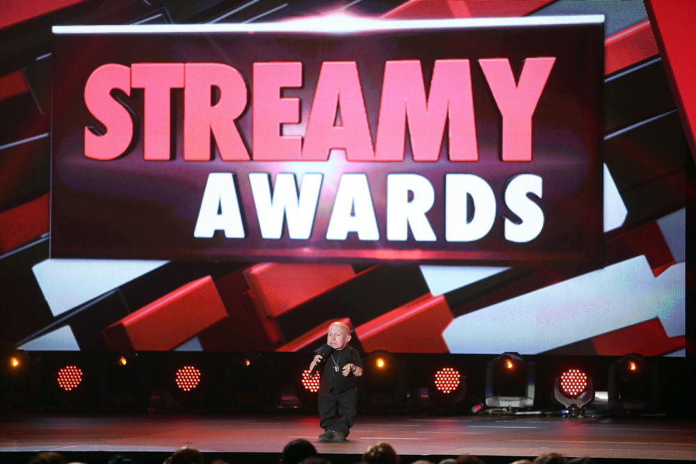 Description of . Presenter Verne Troyer speaks onstage at the 3rd Annual Streamy Awards at Hollywood Palladium on February 17, 2013 in Hollywood, California.  (Photo by Frederick M. Brown/Getty Images)