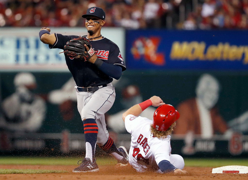 . St. Louis Cardinals\' Harrison Bader is out at second as Cleveland Indians shortstop Francisco Lindor, right, turns the double play during the second inning of a baseball game Monday, June 25, 2018, in St. Louis. The Cardinals\' Kolten Wong was out at first. (AP Photo/Jeff Roberson)