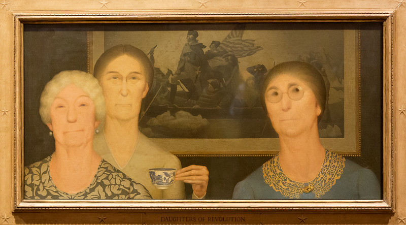 "Grant Wood's, 1932, ""Daughter's of the Revolution,"" was not a kind view of the conservative  D.A.R."