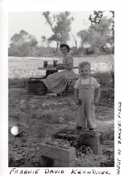 Frankie, David at Kern RIver west of Bakersfield, April 1956