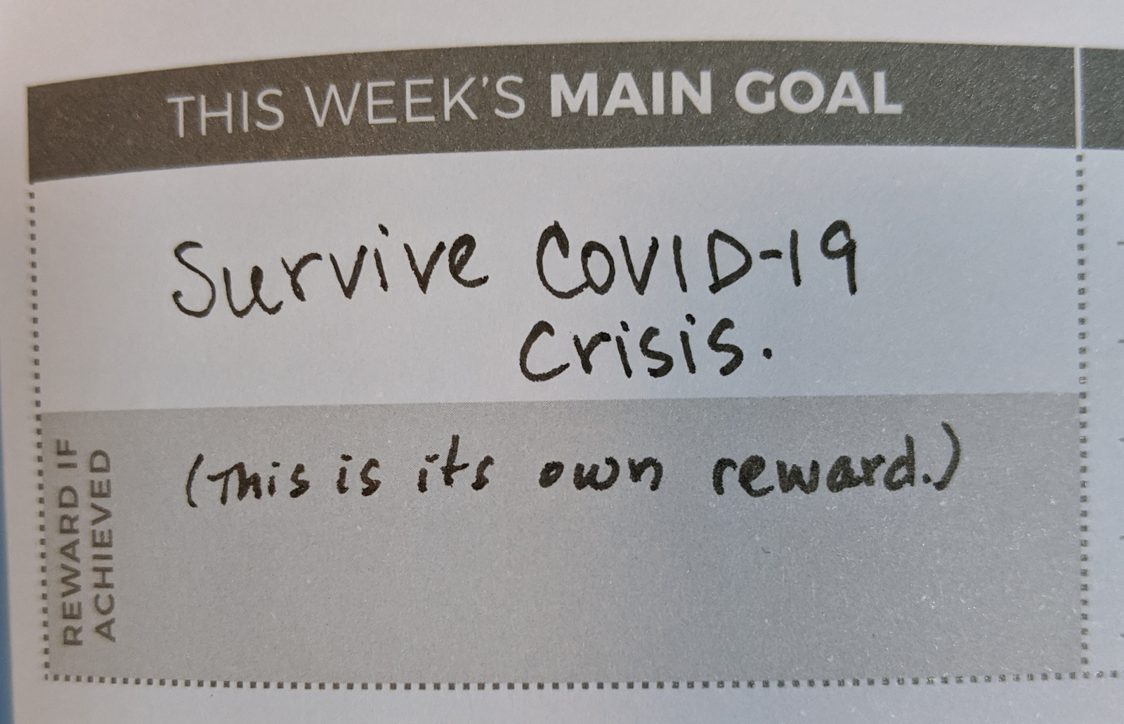 Main Goal, foreseeable future: Survive COVID-19 crisis.