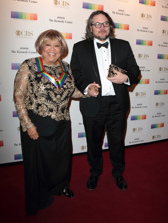 . 2016 Kennedy Center Honoree Mavis Staples, left and Jeff Tweedy of the band Wilco attend the 39th Annual Kennedy Center Honors at The John F. Kennedy Center for the Performing Arts on Sunday, Dec. 4, 2016, in Washington, D.C. (Photo by Owen Sweeney/Invision/AP)