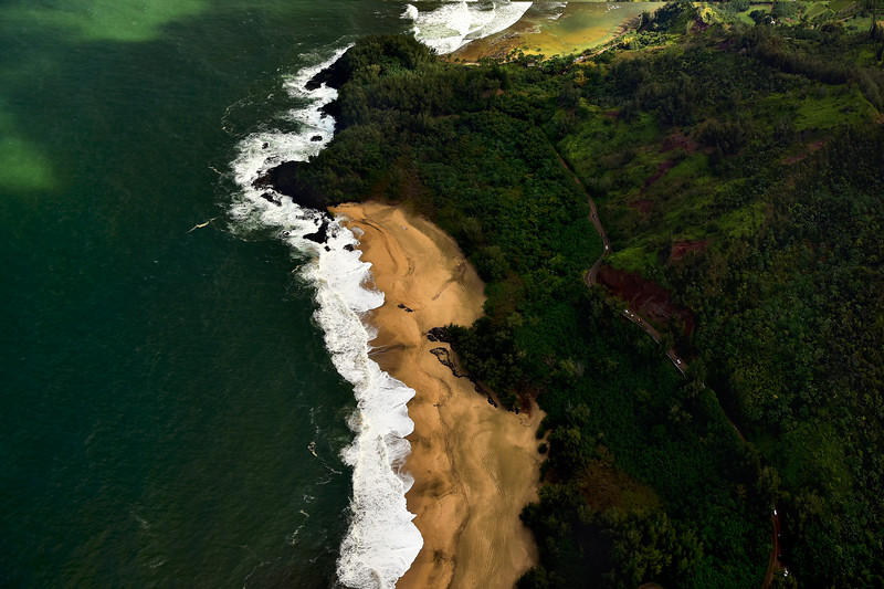 ke'e beach and Haena State park viewed from above, Kauai, Hawaii