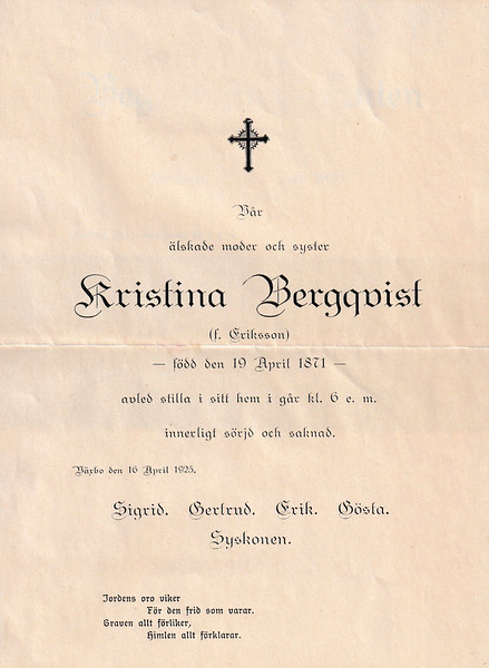 Kristina Bergqvist sorgebrev