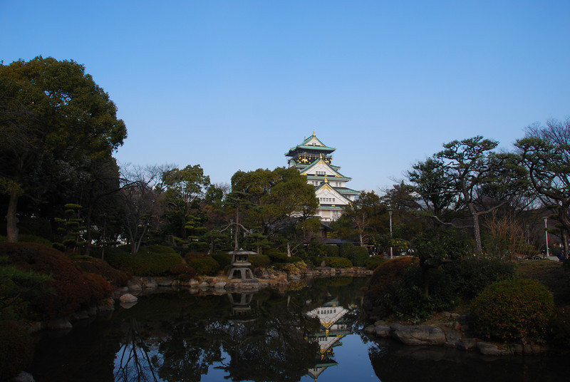North Tower of Osaka Castle and Reflecting Lake  (C) 2009 Brian Neal