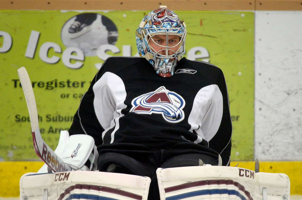 . Colorado Avalanche G Semyon Varlamov (1) stretches before practice September 9, 2013 at Family Sports Ice Arena. (Photo By John Leyba/The Denver Post)