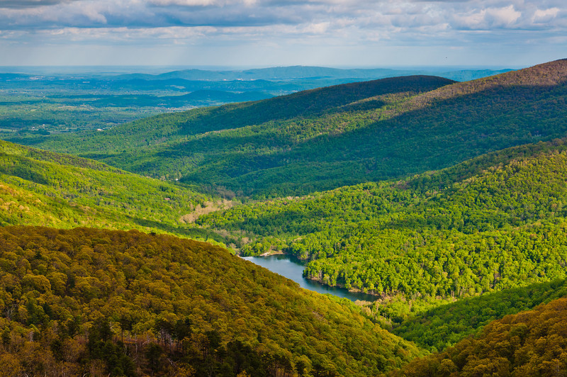 View of the Charlottesville Reservoir from Skyline Drive in Shenandoah National Park, Virginia.
