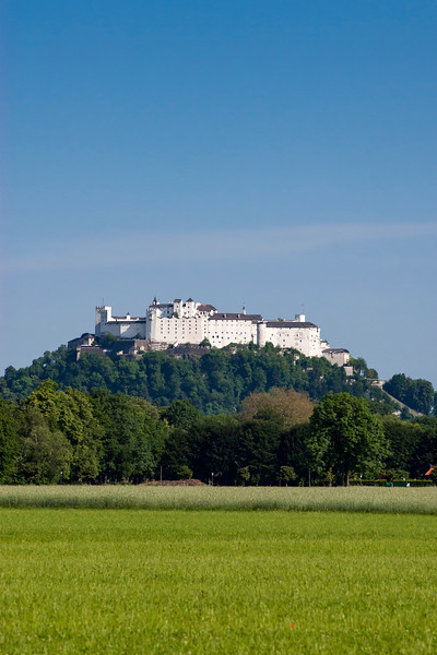 Hohensalzburg Fortress (Castle) as seen from Hellbrunn Palace, Salzburg, Austria