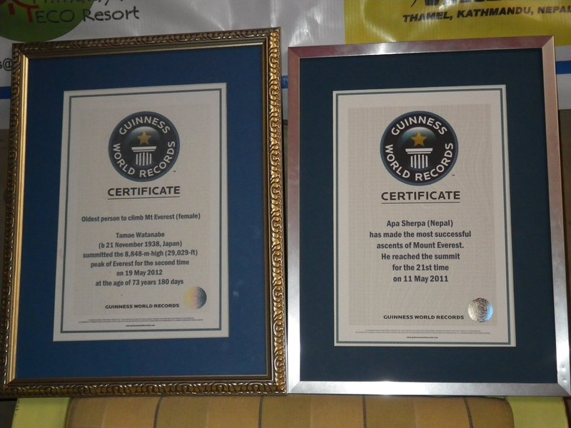 Guinness certification letters for Tamae Watanabe (oldest woman Everest summiter - 73 years old) and Apa Sherpa (21 time Everest summiter - world recorder).
