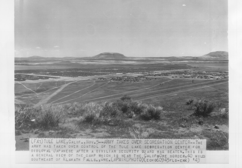 """""""Army Takes Over Segregation Center -- The Army has taken over control of the Tule Lake segregation center for disloyal Japanese after a civilian security guard was beaten"""" -- caption on photograph"""