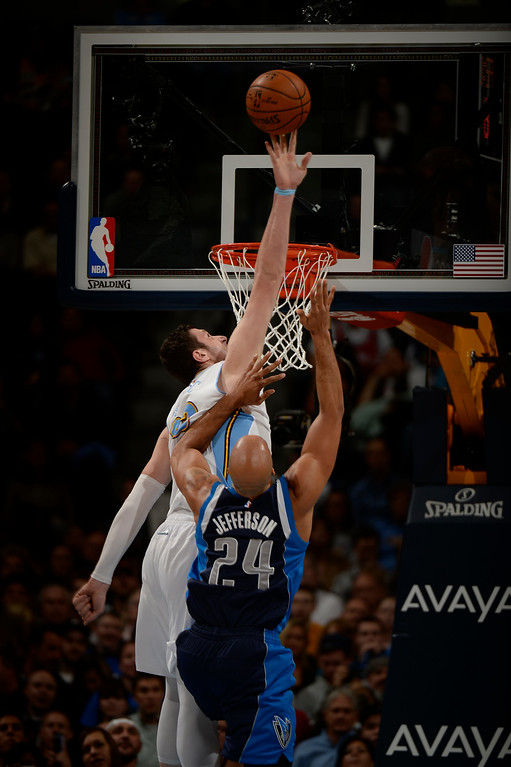 . DENVER, CO - JANUARY 14: Dallas Mavericks forward Richard Jefferson (24) gets his shot blocked by Denver Nuggets center Jusuf Nurkic (23) during the first quarter January 14, 2015 at Pepsi Center. (Photo By John Leyba/The Denver Post)