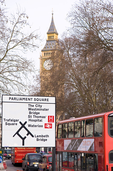 Road sign, Parliament Square, London, United Kingdom