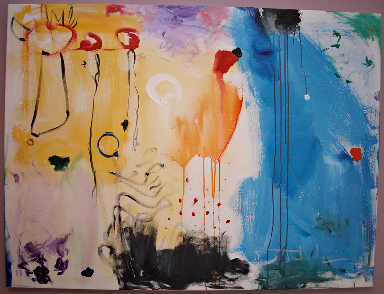 """2011, 36"""" x 48"""". Chasing The Chicken, Acrylic on canvas."""