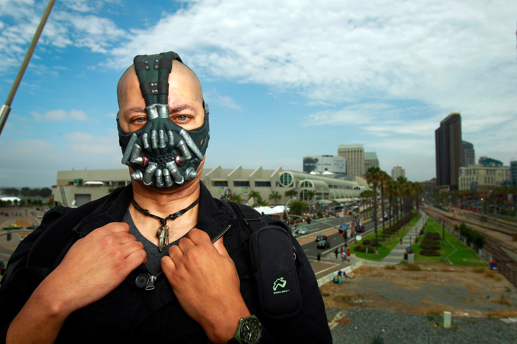 . Brian Madison poses for a photo dressed as Bane from The Dark Knight Rises, at Comic-Con, Friday, July 19, 2013, in San Diego. (AP Photo/U-T San Diego, K.C. Alfred)
