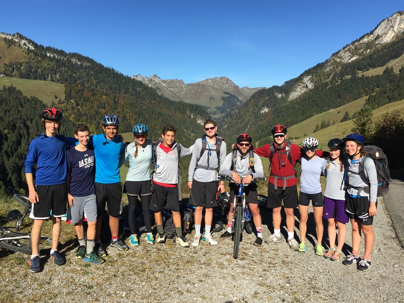 The Gruyères bike trip group on a spectacular day