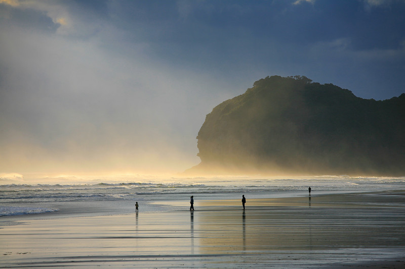 Dramatic evening at Piha beach on Auckland's west coast