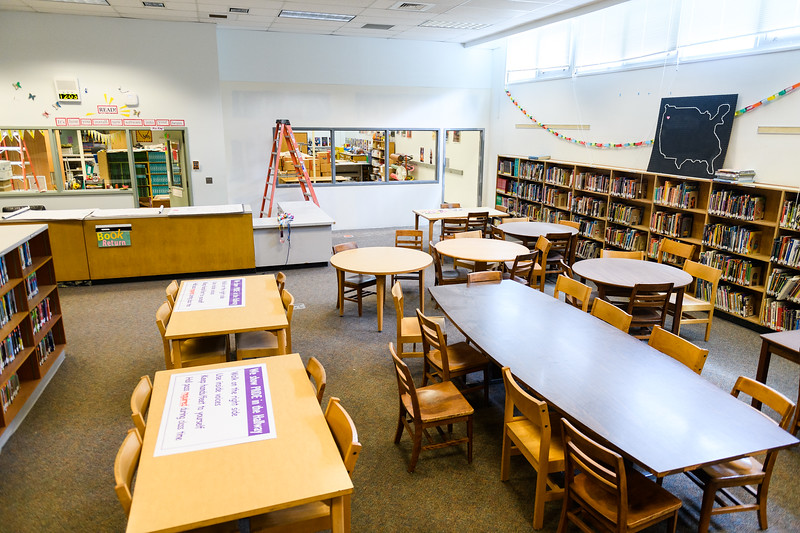 New wall installed in Judson Middle School's library on Friday, August 16, 2019, in Salem, Ore.