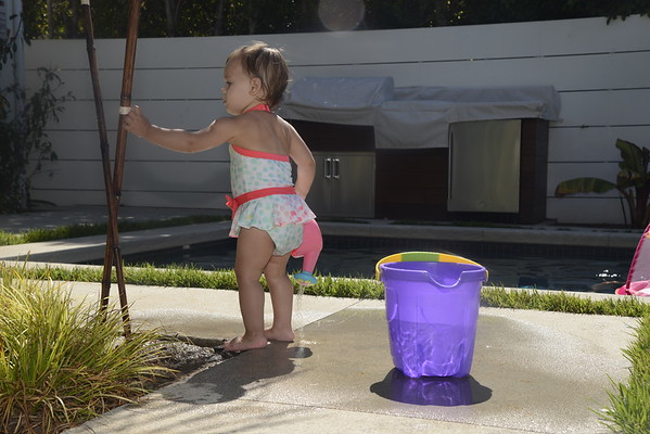 Pool, Purple Bucket and Bubbles