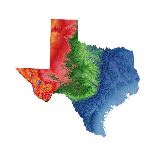 Elevation map of Texas