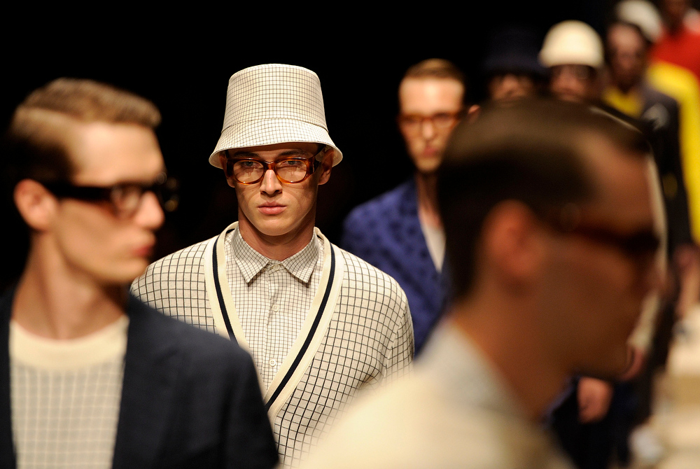 . A model wears a creation for Canali men\'s Spring-Summer 2015 collection, part of the Milan Fashion Week, unveiled in Milan, Italy, Monday, June 23, 2014. (AP Photo/Giuseppe Aresu)