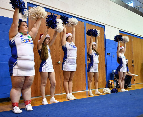 12/7/2019 Mike Orazzi | StaffrCCSU Cheerleaders during Saturday's mens basketball game with the University of Maine in New Britain.