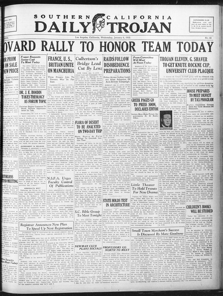 Daily Trojan, Vol. 23, No. 68, January 06, 1932
