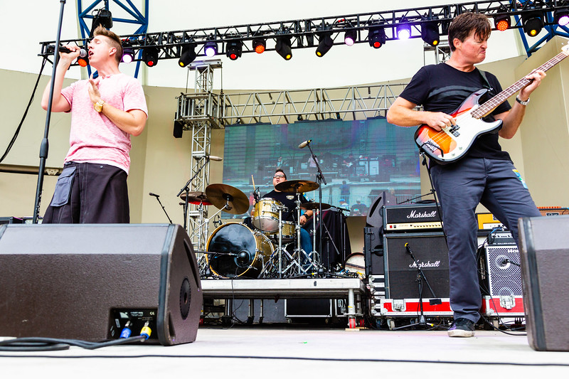 Bruce Donaldson, lead singer, Rene Rivera, drummer and Brad Eavenson, bassist, of Lochness Monster performing at SunFest, May 2, 2019. [JOSEPH FORZANO]