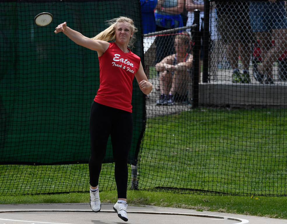 """. LAKEWOOD, CO - May 20: Discus thrower Tarynn Sieg, Eaton Reds, throws the discus 142\' 10\"""", winning the girls 3A discus throw at the Colorado State High School Track and Field Championships at Jeffco Stadium May 20, 2016. (Photo by Andy Cross/The Denver Post)"""