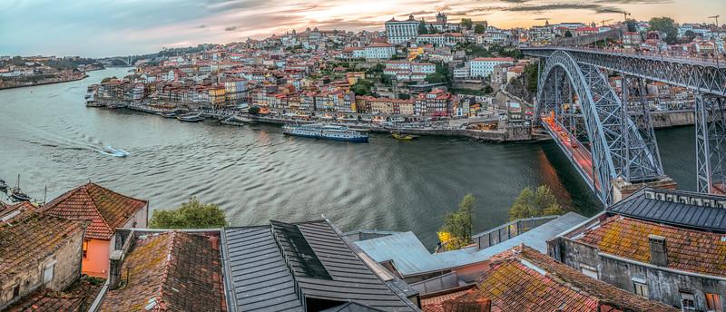 View of the city of Porto and the Douro river from Vilanova de Gaia, Portugal. High resolution panorama.