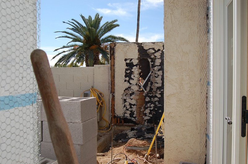 A view of what will become the outdoor shower.