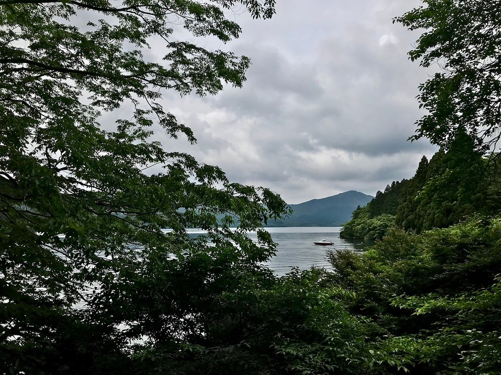 A view of the lake from Onshi Hakone Park.
