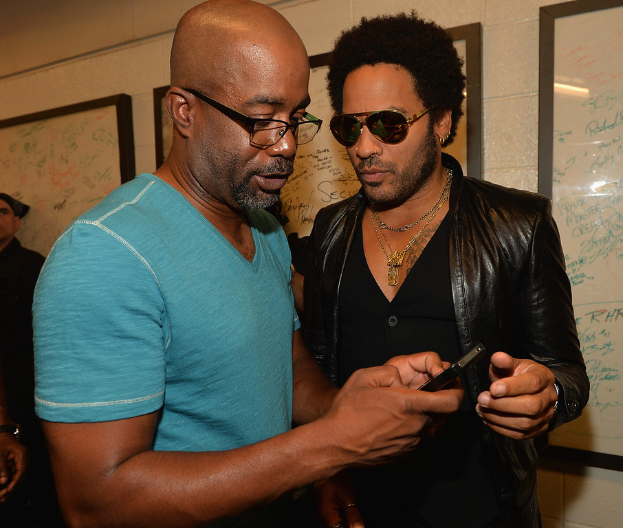 . NASHVILLE, TN - JUNE 05:  Darius Rucker and Lenny Kravitz attend the 2013 CMT Music awards at the Bridgestone Arena on June 5, 2013 in Nashville, Tennessee.  (Photo by Rick Diamond/Getty Images)