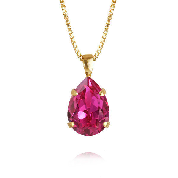 Mini Drop Necklace / Fuchsia Gold