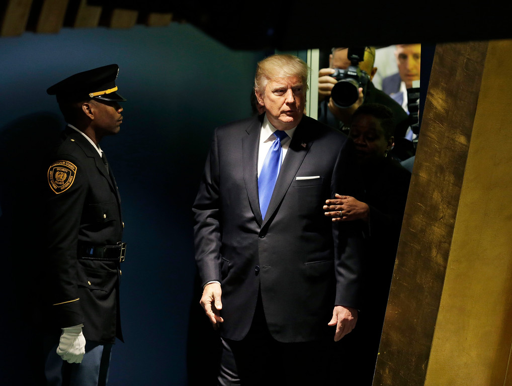 . United States President Donald Trump arrives to speak during the United Nations General Assembly at U.N. headquarters, Tuesday, Sept. 19, 2017. (AP Photo/Seth Wenig)