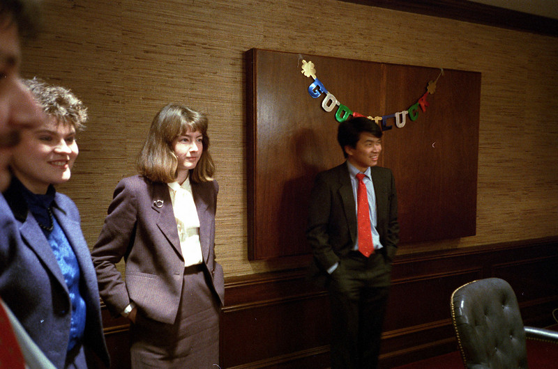 Liz Tymczyszyn and Kathleen Feeney at Einar Le Blanc's sendoff party.  February, 1988.
