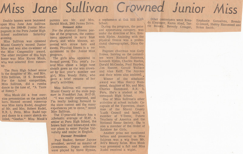 Newspaper Clipping - Miss Jane Sullivan Crowned Junior Miss - October 1968.jpg