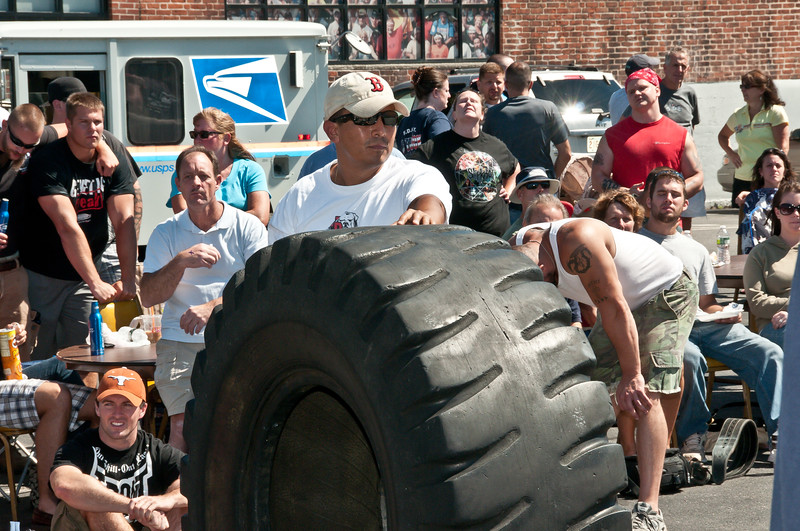 Luis Supervising a Tire Before Flipping