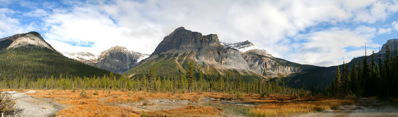 View of the mountains behind Emerald Lake about 2 kilometers in. From the left is Emerald peak, Emerald pass, then the President, President pass, then the Vice President (center), Michael peak, Yoho pass and up the side of Wapta Mountain. Below the President is Emerald Basin. The view is of the alluvial plain.