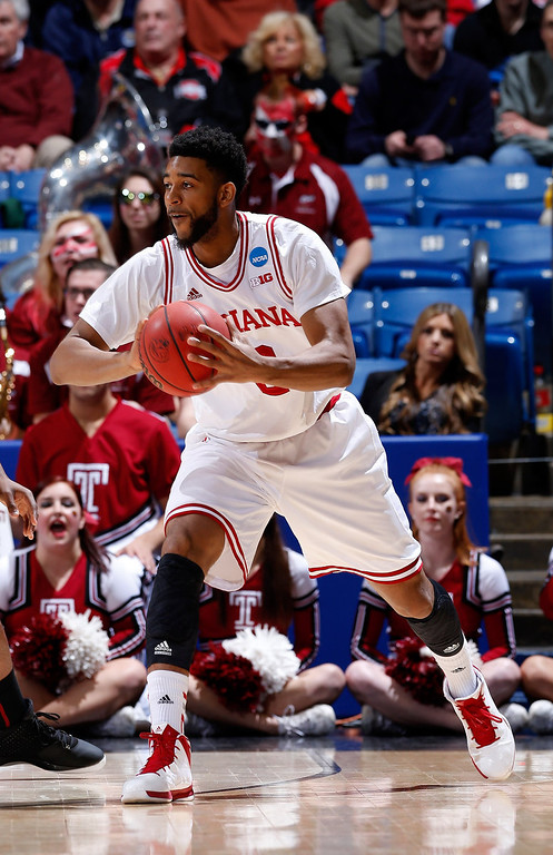 . Christian Watford #2 of the Indiana Hoosiers handles the ball against the Temple Owls in the first half during the third round of the 2013 NCAA Men\'s Basketball Tournament at UD Arena on March 24, 2013 in Dayton, Ohio.  (Photo by Joe Robbins/Getty Images)